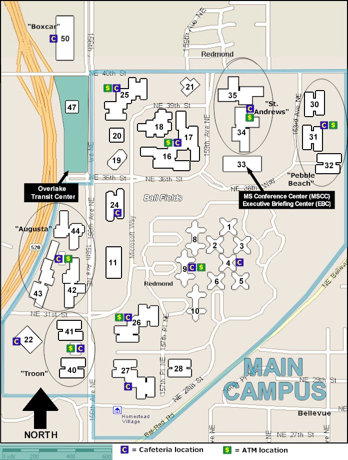 Microsoft corporate campus map for pinterest